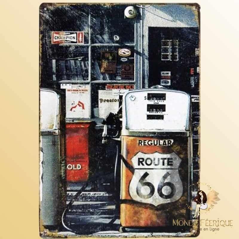 Plaque Déco Mur Pompe Road66 Vintage -- 20x30cm