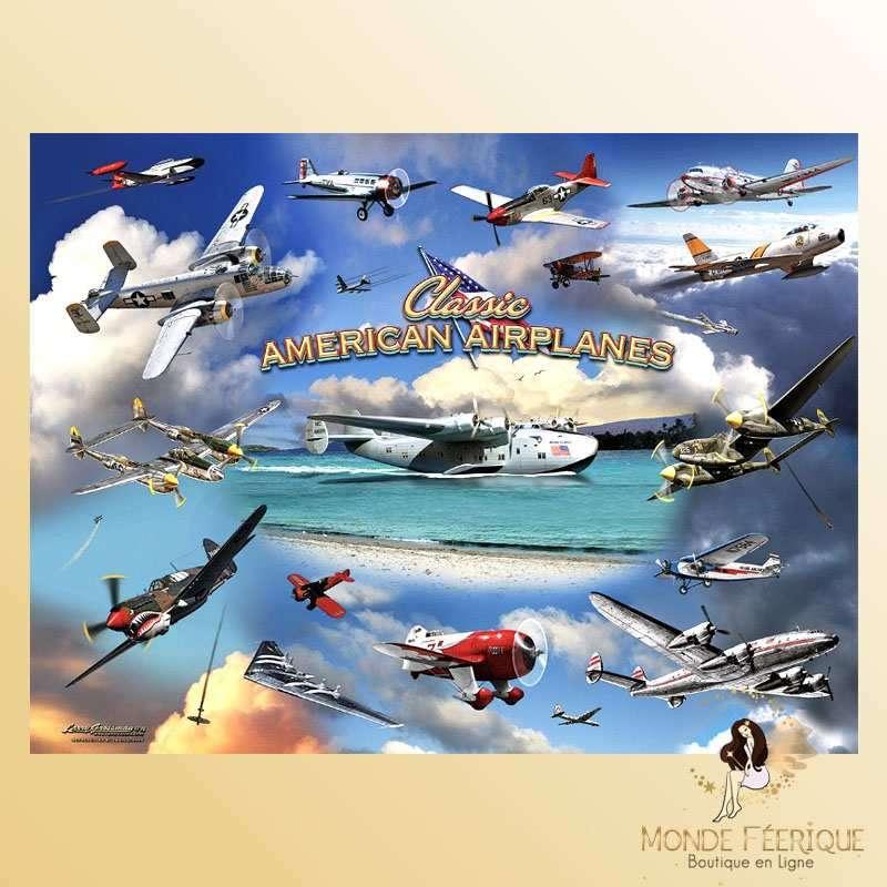 Plaque Déco Mur Les avions américains -- 20x30cm