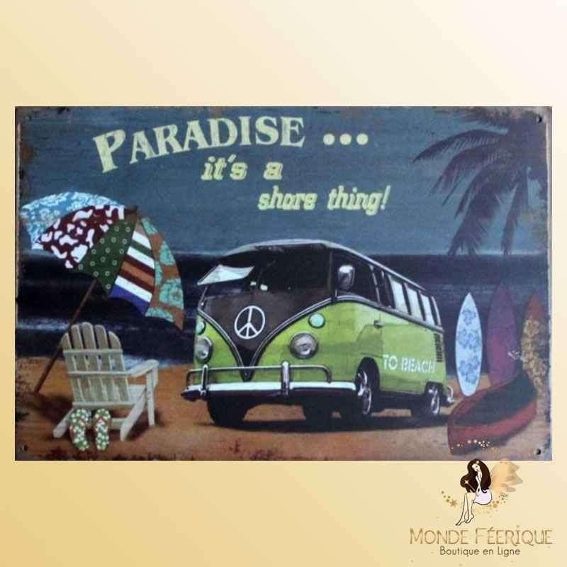 Plaque Metal Déco Paradise Van Vintage