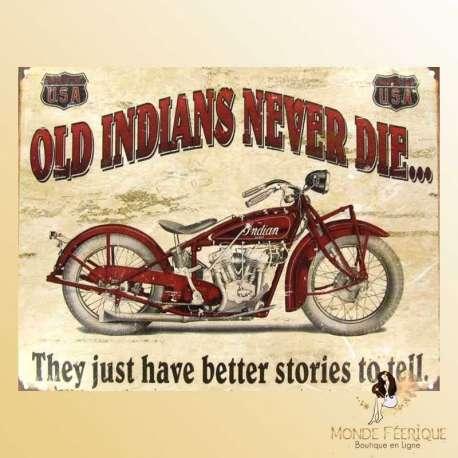 Lorenzo Plaque en m/étal vintage en fer Motif moto indienne