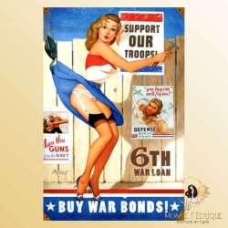 plaque vintage pin up etats unis decoration murale publicité guerre