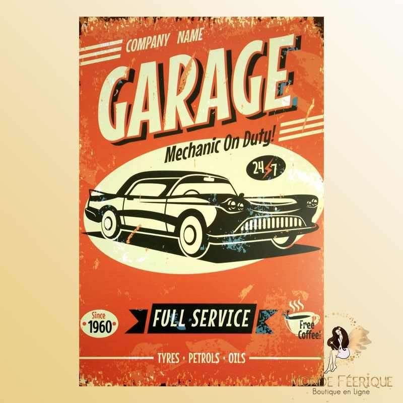 Plaque Metal Déco Garage US vintage Rouge