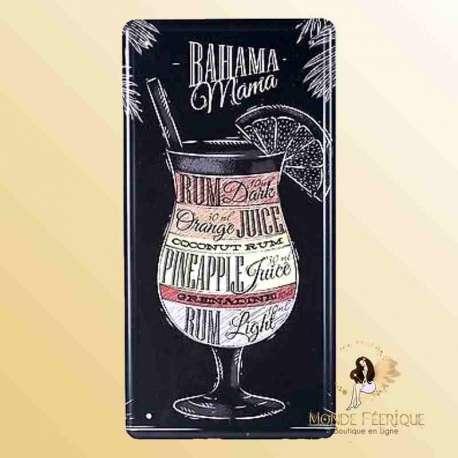 bahama mama cocktail decoration plaque murale bars cocktail rhum