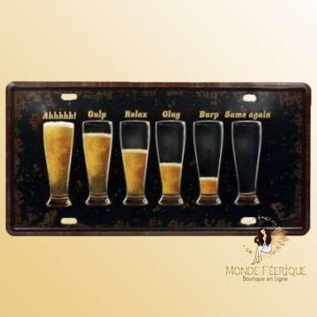 biere plaque metal decoration avec bieres