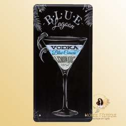 blue lagoon cocktail decoration plaque mur bar deco cocktails vodka vintage