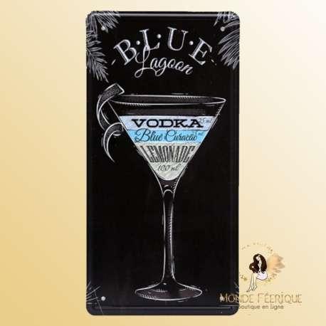 blue lagoon cocktail decoration plaque mur bar deco cocktails vodka vintage