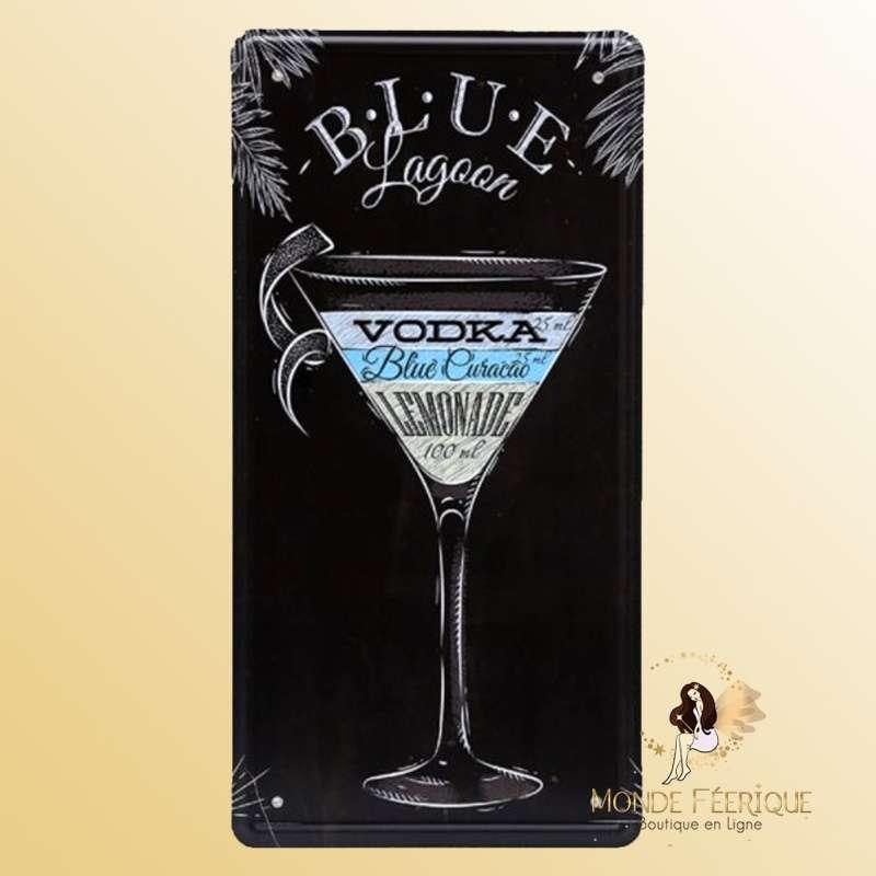 Plaque Décoration Vintage Blue Lagoon Cocktail