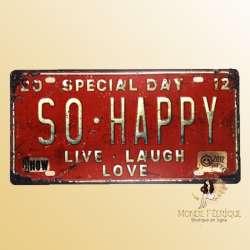 bonheur plaque decoration vintage en metal plaque rouge joie deco