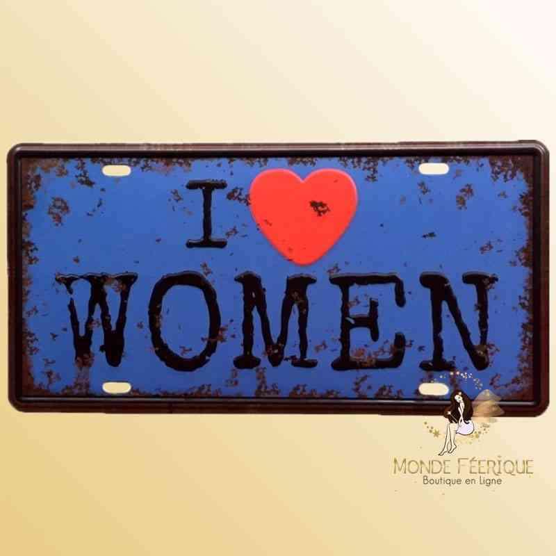 Plaque Déco Vintage I Love Women