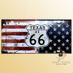 drapeau USA plaque metal decoration route 66 deco americaine vintage moderne