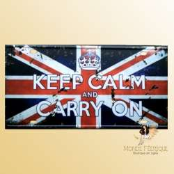 Plaque Déco Vintage keep calm and carry on décoration