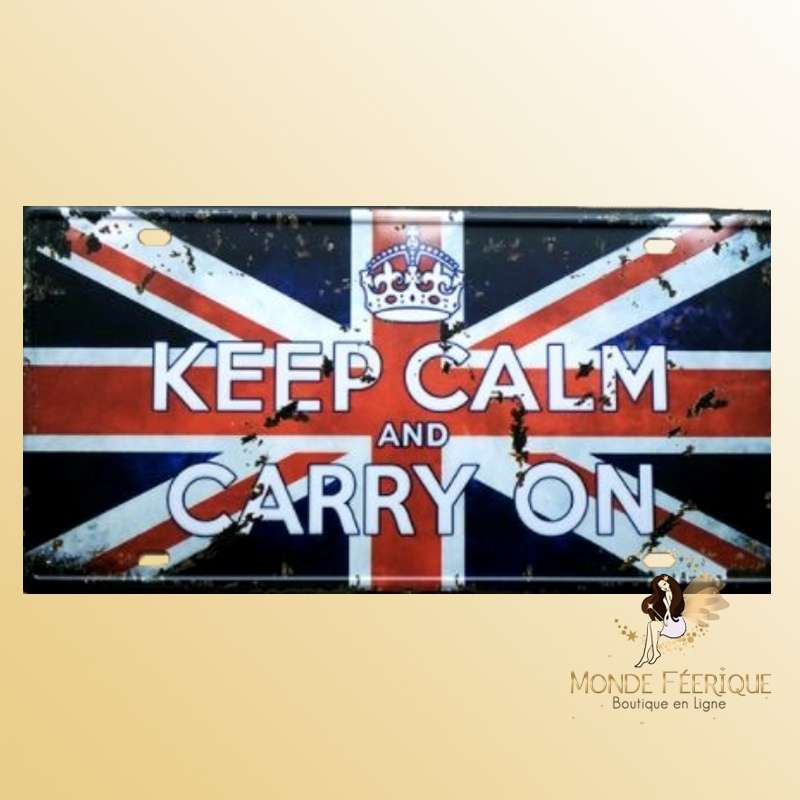 Plaque Déco Vintage Keep Calm and Carry On