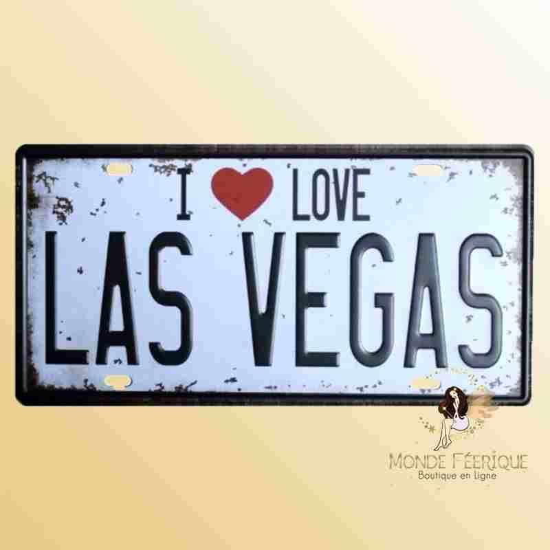 Plaque Déco Vintage I Love Las Vegas