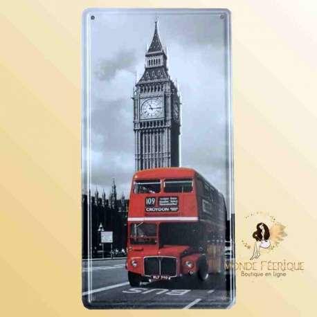 londres bus rouge big ben plaque decoration déco vintage noir et blanc