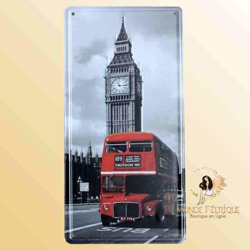 Plaque Déco Vintage de Londres Bus Rouge et Big Ben