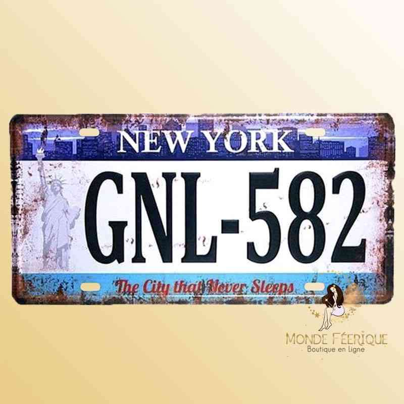 Plaque Déco Vintage Immatriculation NYC