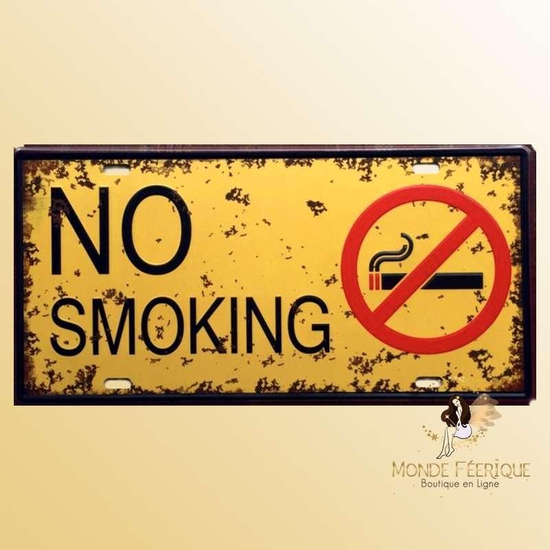 Plaque Déco Vintage No Smoking interdit de Fumer