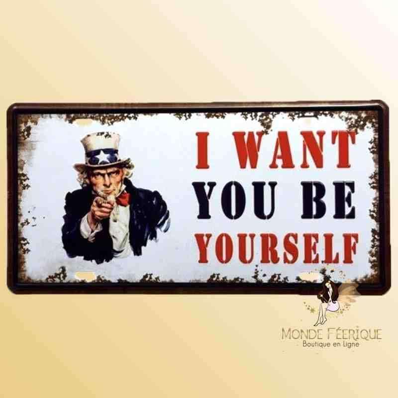 Plaque Déco Vintage Oncle Sam I want you