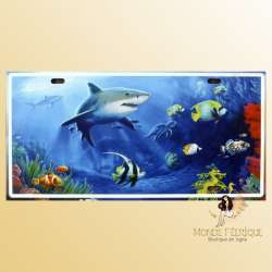 plaque decoration requin ocean poissons deco mural plaque en metal
