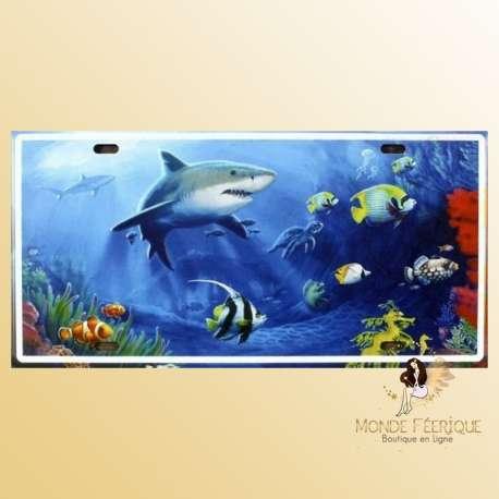 plaque decoration requin ocean poissons deco mural plaque en metal