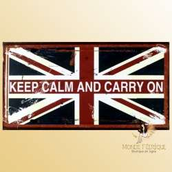 plaque deco vintage Keep Calm drapeau UK Keep calm