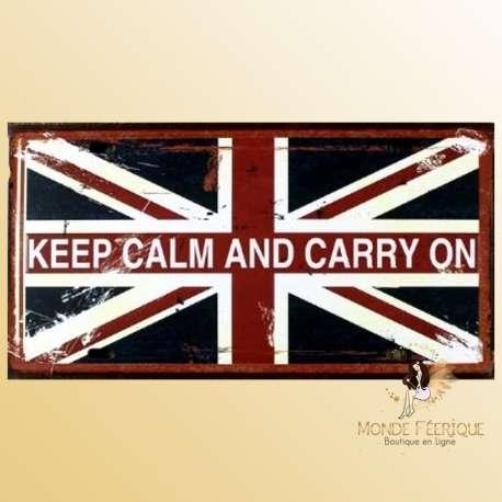 plaque deco vintage Keep Calm drapeau UK Keep calm