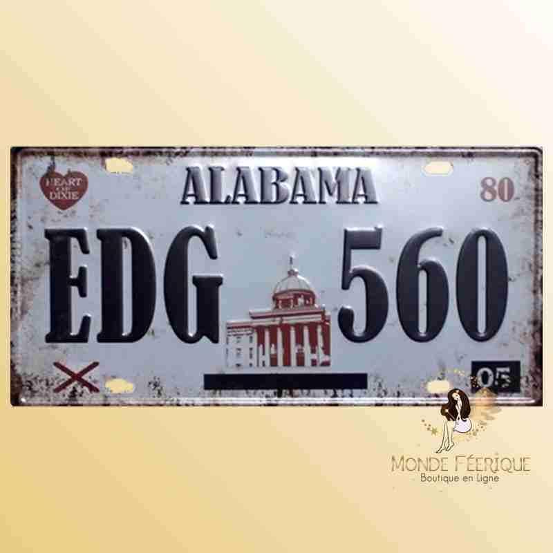 Plaque Décoration murale Alabama USA voitures