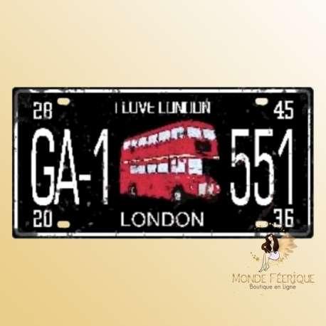 plaque metal london londres bus londonien decoration mur