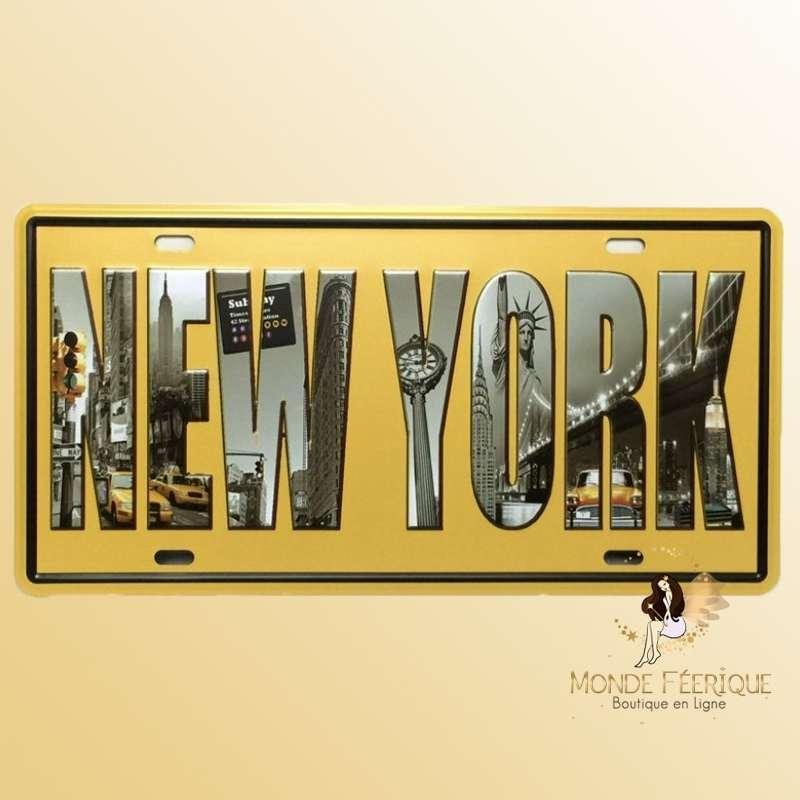 Plaque Décoration murale New York Jaune