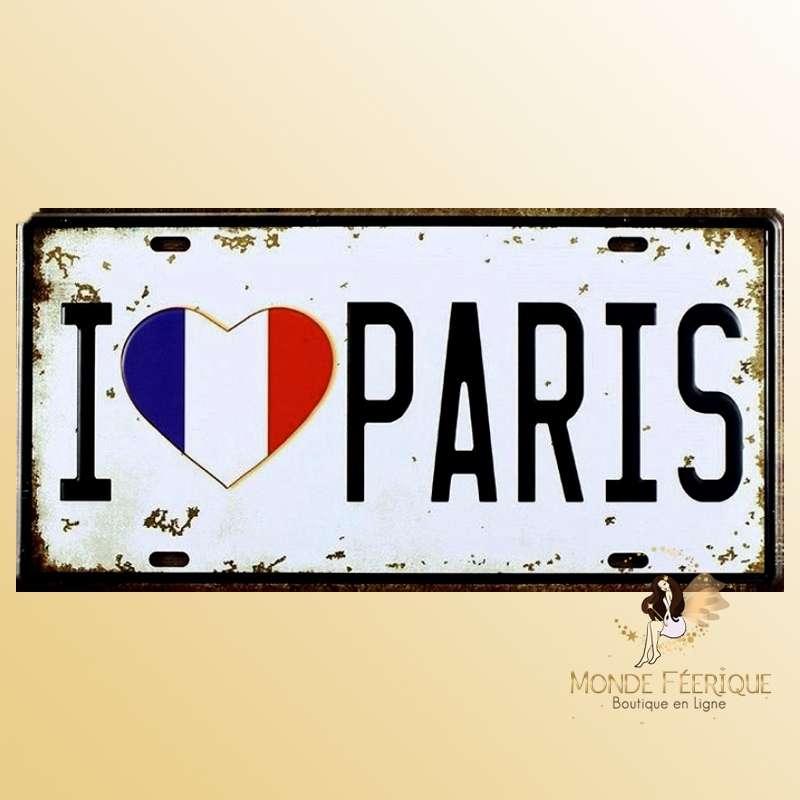 Plaque Décoration murale I love Paris