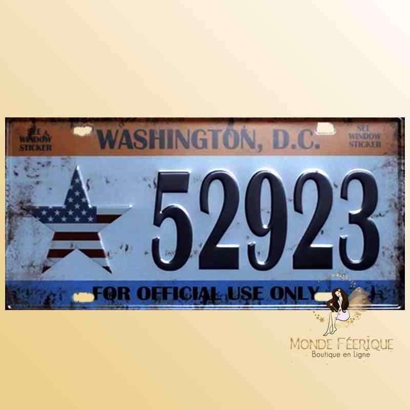 Décoration mur immatriculation Washington