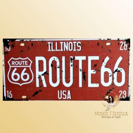 route 66 plaque decoration rouge en metal pour mur