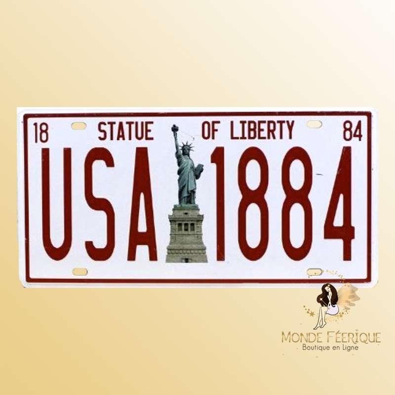 Plaque en metal USA rouge Statue de la Liberté