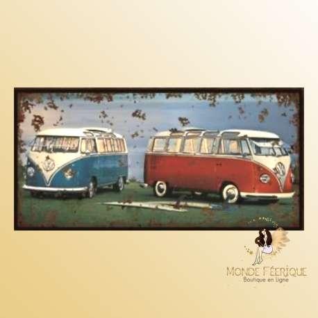 van VW decoration plaque en metal vintage