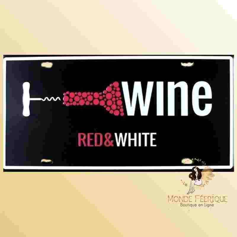 Plaque en metal Vin et Vins