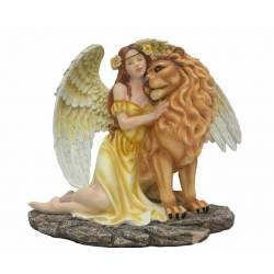 Grande Statuette Fée avec Lion -- 32,5cm