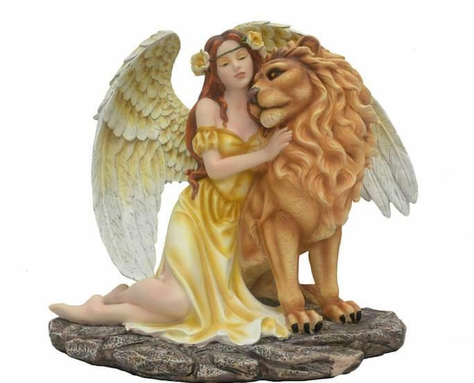 Grande Statuette Fée avec Lion