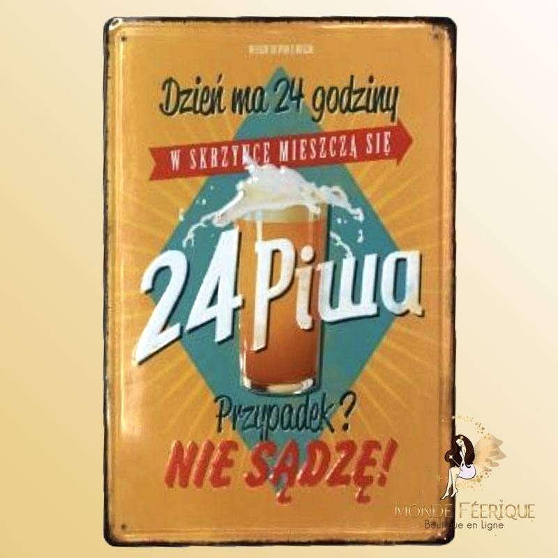 Plaque Métal Déco Bières Premium 20x30cm