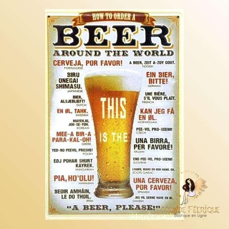 Plaque Metal Premium Bière Monde 30x40cm