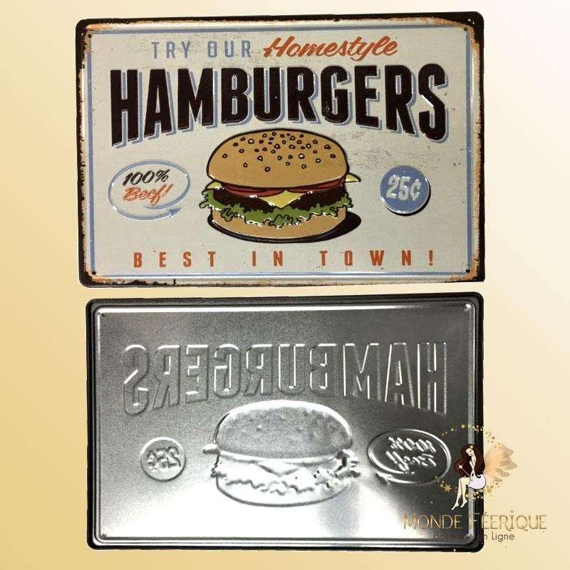 Plaque Metal Premium Super Burger 20x30cm