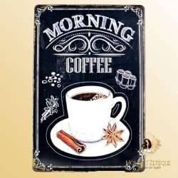 Plaque Metal Premium Morning Café 30x40cm