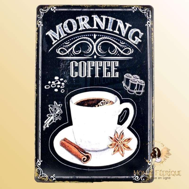 Plaque Metal Premium Morning Café 20x30cm