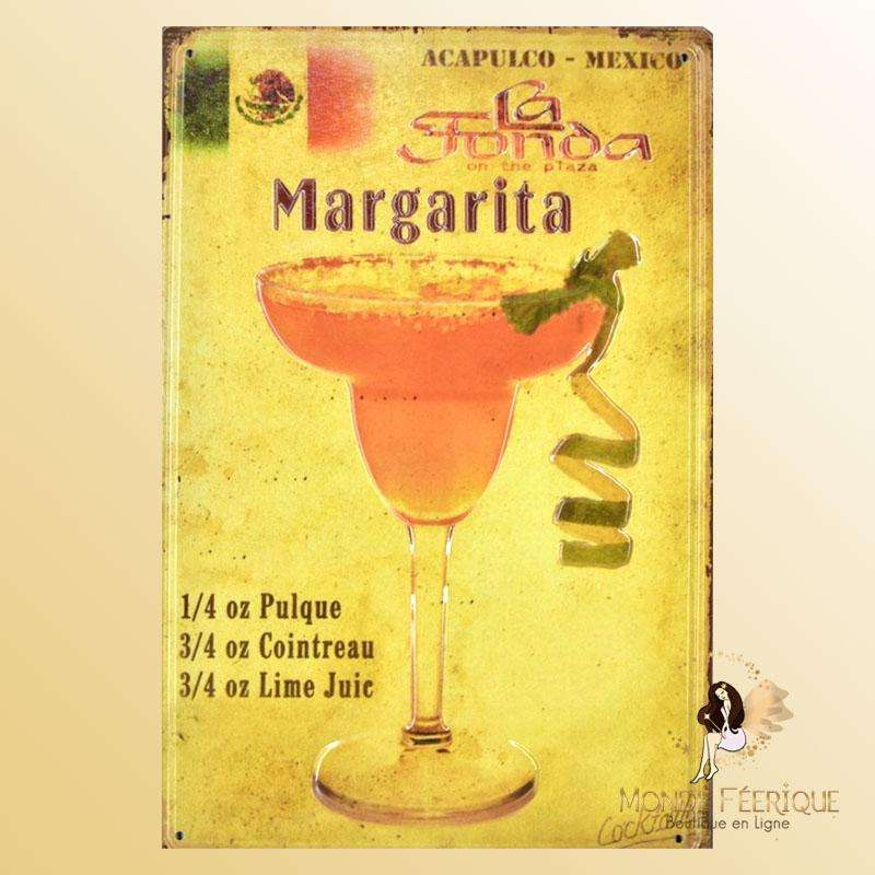 Plaque Metal Premium Margarita Cocktail 30x40cm