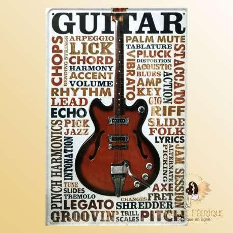 Plaque Metal decoration guitare