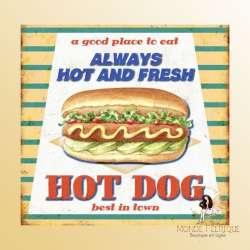 Plaque Metal Premium Hot Dog Rétro 30x40cm