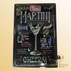 Plaque Metal decoration martini 30x40cm