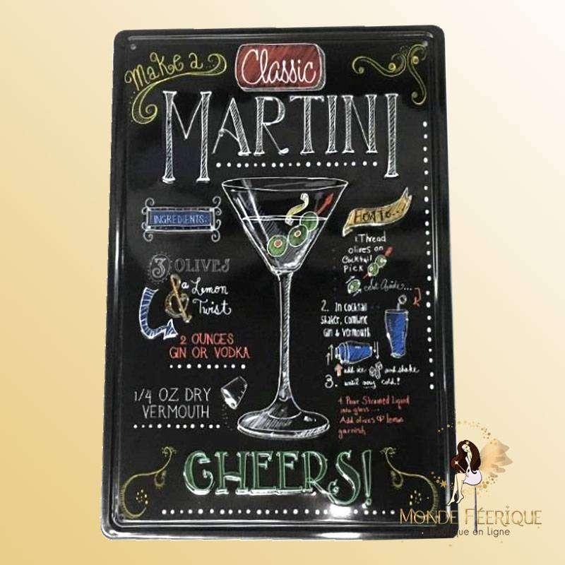Plaque Metal Décoration Martini Premium 30x20cm