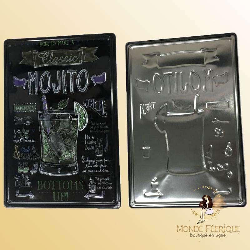 Plaque Metal Cocktail Mojito Premium 30x40cm