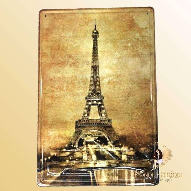 Plaque Metal décoration Paris Premium 20x30cm