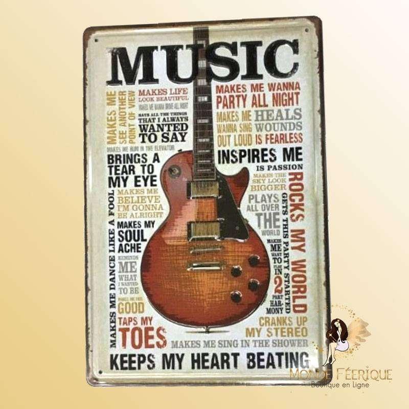 Plaque Décoration Guitare Rock Premium 20x30cm